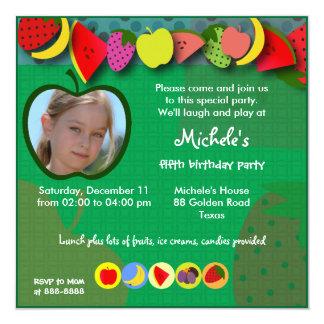 Kindergeburtstageinladung 045: Früchte Quadratische 13,3 Cm Einladungskarte