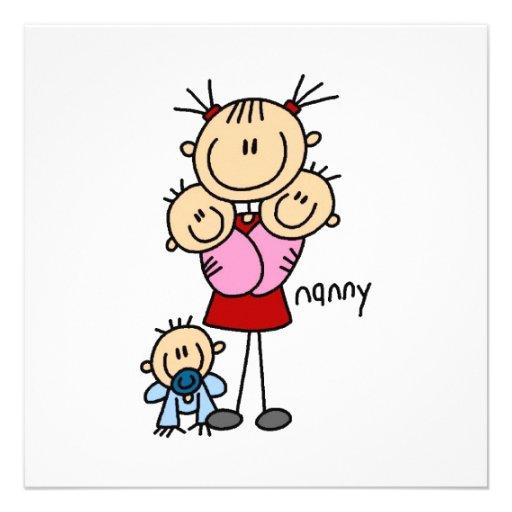 Kindermädchen-Strichmännchen Personalisierte Ankündigungskarte