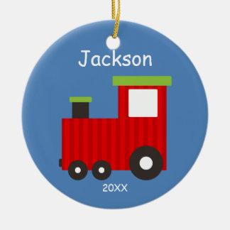 Kinderpersonalisierte Weihnachtszug-Verzierung Rundes Keramik Ornament