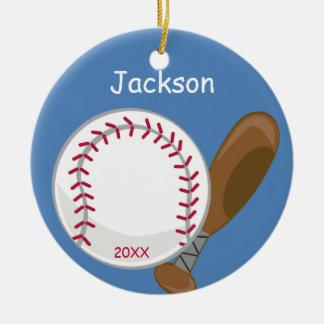 Kinderpersonalisierter Baseball und -schläger Rundes Keramik Ornament