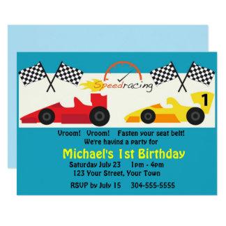 Kinderrennen-Auto-Geburtstags-Party 12,7 X 17,8 Cm Einladungskarte