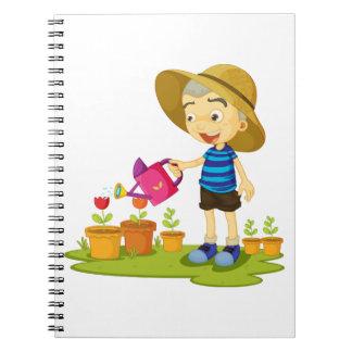 KinderwässernPflanzen-gewundenes Notizbuch Notizblock