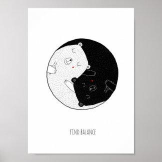 Kinderzimmer-Druck, Entdeckungs-Balance, Yin und Poster