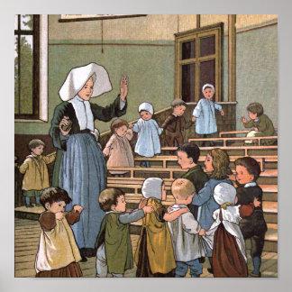 Kinderzimmer-Spiel-Vintage Illustration Poster