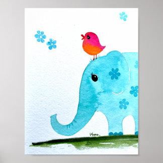 Kinderzimmer wallart_ Watercolor Elefant und rosa Poster