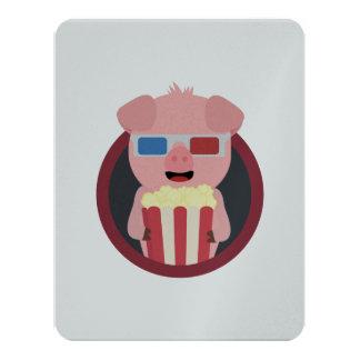 Kino-Schwein mit Popcorn Zpm09 10,8 X 14 Cm Einladungskarte