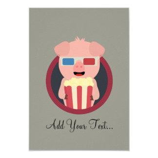 Kino-Schwein mit Popcorn Zpm09 8,9 X 12,7 Cm Einladungskarte