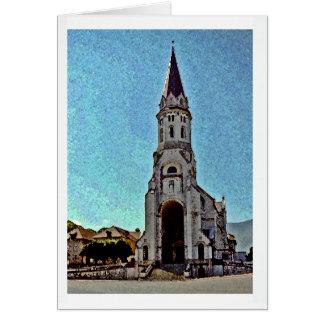 Kirche in Annecy Frankreich mit Bergen Mitteilungskarte