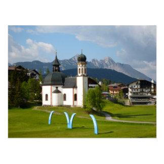 Kirche in Seefeld, Österreich-Postkarte Postkarte
