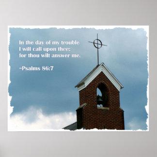KircheSteeple in einem Psalm-Bibel-Vers des Poster