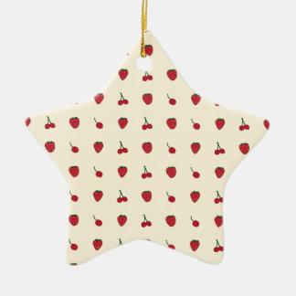Kirsch-u. Erdbeermuster Keramik Stern-Ornament