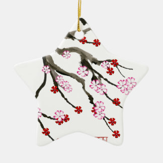 Kirschblüte 10 Tony Fernandes Keramik Stern-Ornament
