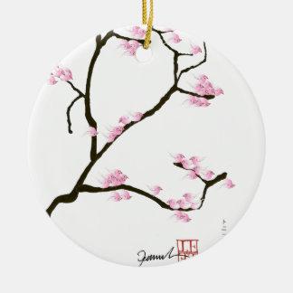 Kirschblüte-Blüte mit rosa Vögeln, tony fernandes Rundes Keramik Ornament