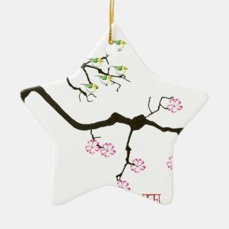 Kirschblüte-Blüten mit Vögeln, tony fernandes Keramik Stern-Ornament
