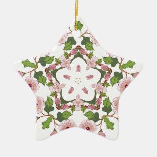 Kirschblüte-Blüten-Verzierung 3 Keramik Stern-Ornament