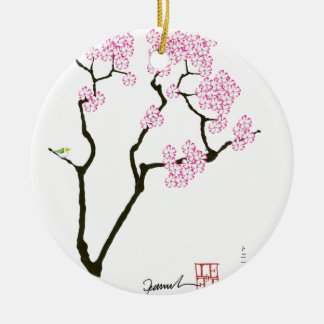 Kirschblüte mit grünem Vogel, tony fernandes Rundes Keramik Ornament