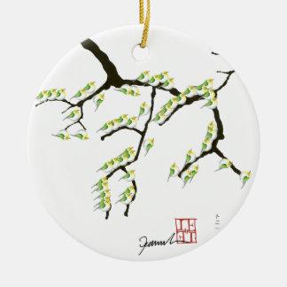 Kirschblüte mit grünen Vögeln, tony fernandes Rundes Keramik Ornament