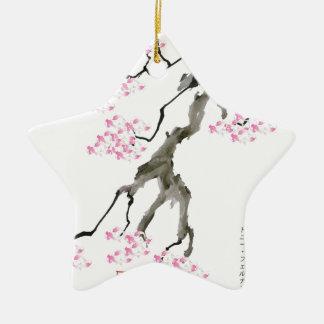 Kirschblüte mit rosa Goldfisch, tony fernandes Keramik Stern-Ornament