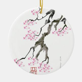 Kirschblüte mit rosa Goldfisch, tony fernandes Rundes Keramik Ornament