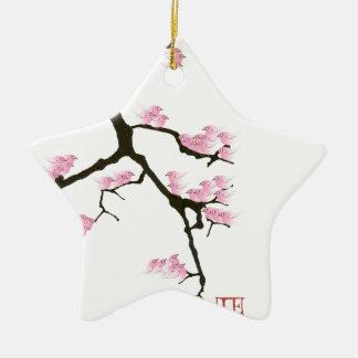 Kirschblüte mit rosa Vögeln durch tony fernandes Keramik Stern-Ornament