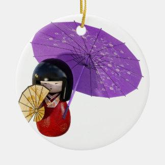 Kirschblüte-Puppe mit Regenschirm Keramik Ornament
