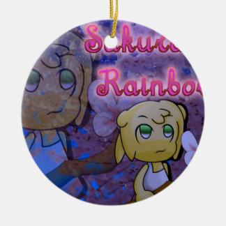 Kirschblüte-Regenbogen: Pansy Rundes Keramik Ornament