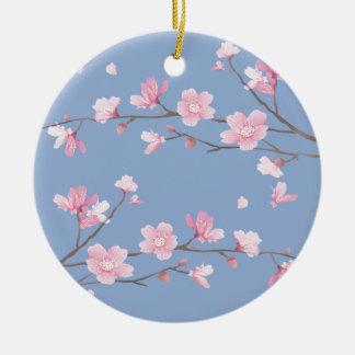 Kirschblüte - Ruhe-Blau Keramik Ornament