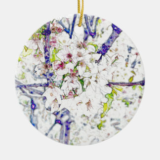 Kirschblüte Rundes Keramik Ornament