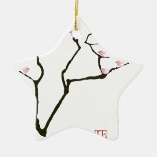 Kirschblüte und 7 rosa Vögel 1, tony fernandes Keramik Stern-Ornament