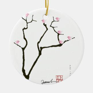 Kirschblüte und 7 rosa Vögel 1, tony fernandes Rundes Keramik Ornament