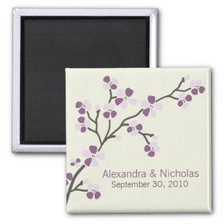 Kirschblüten-Designer-Gastgeschenk Hochzeit Quadratischer Magnet