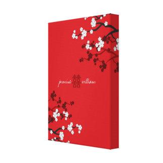 Kirschblüten-doppeltes Glück-chinesische Hochzeit Leinwanddruck