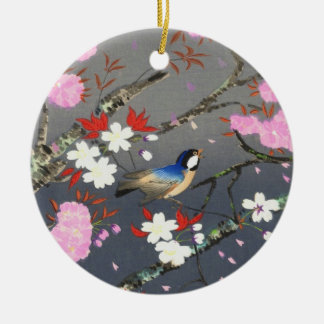 Kirschblüten-Drosselschienbein hanga Ohno Bakufu Rundes Keramik Ornament