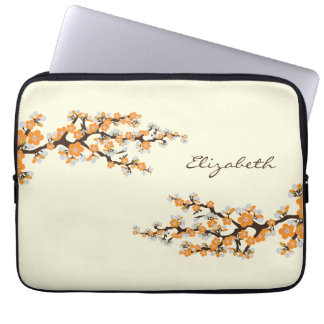 Kirschblüten-Kirschblüte-Laptop-Hülse (orange) Laptopschutzhülle