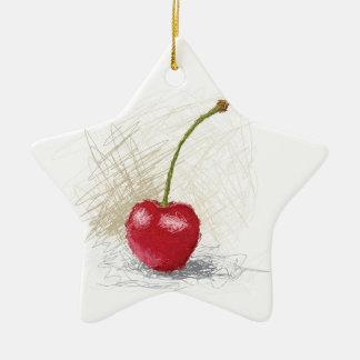 Kirsche Keramik Stern-Ornament