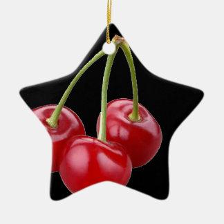 """Kirschen "" Keramik Stern-Ornament"