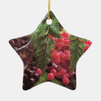Kirschen und Beeren Keramik Stern-Ornament
