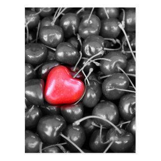Kirschen und Herz Postkarte