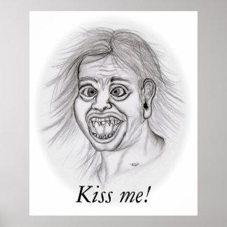 Kiss me! - Bleistiftzeichnung Poster