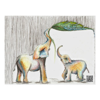 Kissen Baby and Mom Elephant Watercolor Postkarte