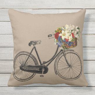 Kissen hellgrauen Fahrrad-Blume Taupe im