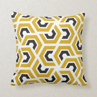 Kissen Kissen Yellow Black Polygon