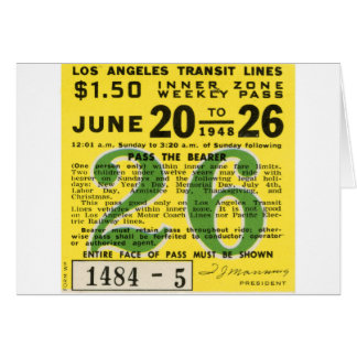 Kitsch Vintages L.A. Transit Ticket Karte