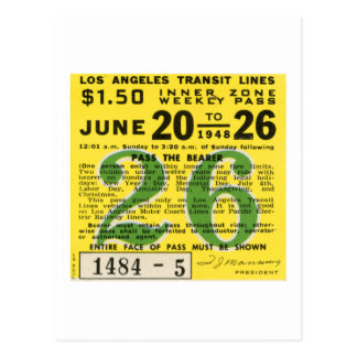 Kitsch Vintages L.A. Transit Ticket Postkarte