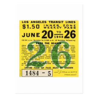 Kitsch Vintages L.A. Transit Ticket Postkarten