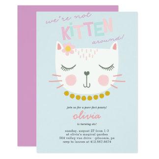 Kitty-Katzen-Kindergeburtstag-Einladung Karte
