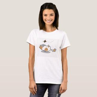 Kitty-und Schmetterlings-T - Shirt