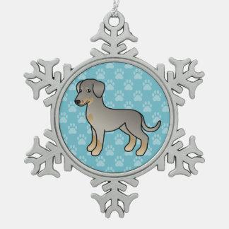 Kitz-Dobermann/deutscher Pinscher-Hund Schneeflocken Zinn-Ornament