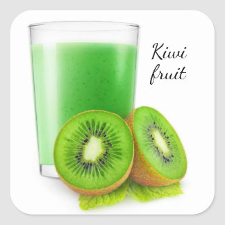 Kiwi Smoothie Quadratischer Aufkleber
