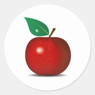 Klare rote Apple-Aufkleber Runder Aufkleber